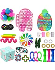 34 Pack Fidget Toys Set, Sensory Fidget Toys Pack Stress Relief and Anti-Anxiety Tools, Pop-it Dimple Figet Toys for Kids and Adults with Colorful Pineapple Push Bubble (31Pcs Fidget Toys Cheap-A)