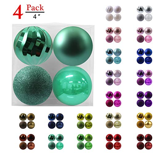 GameXcel Christmas Balls Ornaments for Xmas Tree - Shatterproof Christmas Tree Decorations Large Hanging Ball Teal with Irregular Ball 4.0