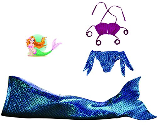 Mayskey Girls Sparkle Mermaid Tail Swimmable Tail Swimsuit 3PCS Sets (140 (10-12Years), Blue)