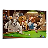 FireDeer Six Cartoon Dogs Color Prints Dogs Playing Pool Craps Black Jack Poster Painting On Canvas Bedroom Wall Art Decoration Pictures Home Decor (No Frame,24x36 inch)