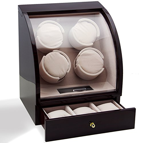 CHIYODA Automatic Quad Watch Winder with Quiet Mabuchi Motor, LCD Digital Display for 4 Watches