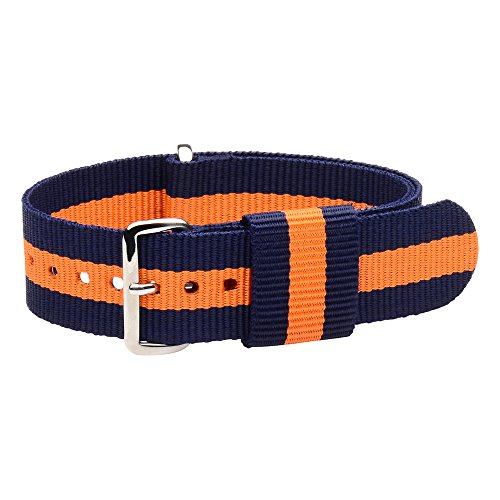 Raf Nylon Loop Nato Watch Strap Band - Multiple Colors / Sizes to Choose From! (Navy Blue / Orange, 18mm)