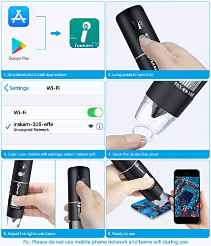 Wireless Digital Microscope Handheld USB HD Inspection Camera 50x-1000x Magnification with Stand Compatible with iPhone, iPad, Samsung Galaxy, Android, Mac, Windows Computer