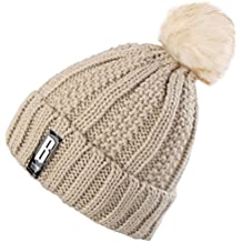 Novawo Women's Trendy Pom Pom Hat Fleece Lined Beanie Winter Warm Knit Hats Slouchy Beanie