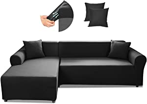 SAFETYON Sofa Slipcover, Sectional Couch Covers 2-Piece, Reversible Sofa Cover Furniture Protector Stretch Couch Slip Cover with Elastic Bottom (Black)