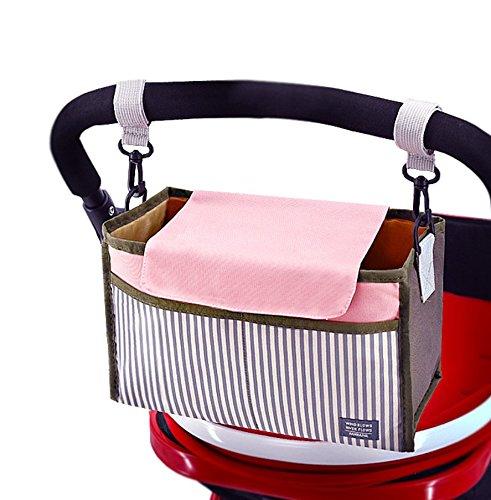 Stroller Organizer, Baby Stroller Pram Organizer Bag, Premium Quality Diaper Bag, Hanging Storage Bag Fits All Strollers, Extra-Large Storage Space Pink