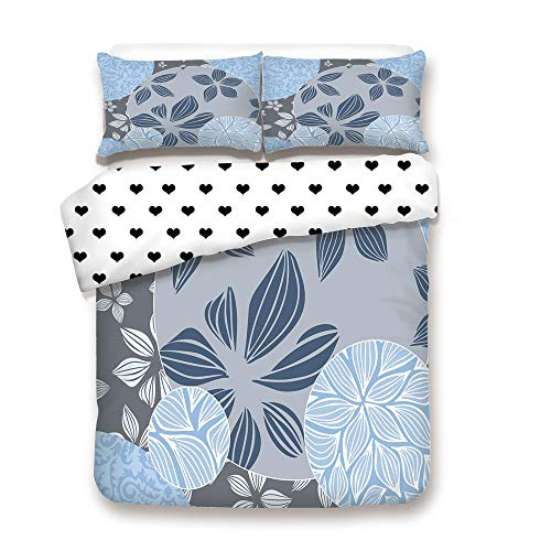 (Duplex Print Duvet Cover Set FULL Size/Tropical Blooms inside Circular Shaped Forms Swirled Petals Elegance Pattern Decorative/Decorative 3 Piece Bedding Set with 2 Pillow Sham,Light,Best Gift For You)