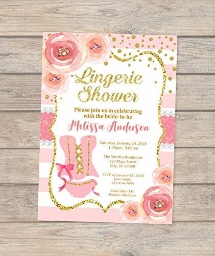 lingerie bridal shower invitation pink and gold bridal shower invitations floral and stripes lingerie