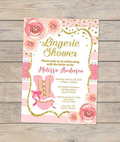 lingerie bridal shower invitation pink and gold bridal shower invitations floral and stripes lingerie