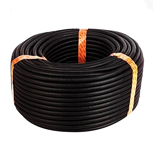TOOGOO(R) 100 Ft. 3/4 inch Split Wire Loom Conduit Polyethylene Tubing Black Color Sleeve Tube Black Polyethylene Split Loom Tubing