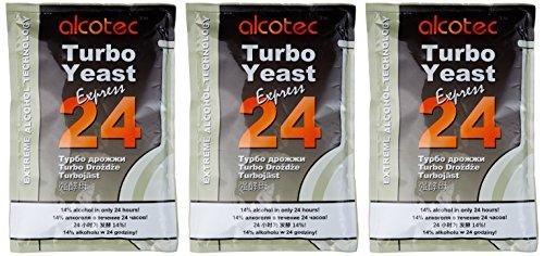 Alcotec 24-Hour Turbo Yeast, 205 Grams (Pack of 3)