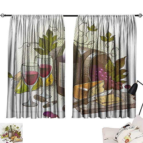 Davishouse Wine Blackout Curtains Vintage Style Composition with Wine and Cheese Fruits Gourmet Taste Beverage and Food Home Garden Bedroom Outdoor Indoor Wall Decorations from Davishouse