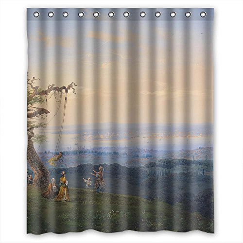 [Monadicase Polyester Christmas Shower Drape Of Beautiful Scenery Landscape Painting,for Mother,girls,kids Girl,birthday,him. Easy Care Width X Height / 60 X 72 Inches / W H 150 By 180] (Thailand National Costume For Male)