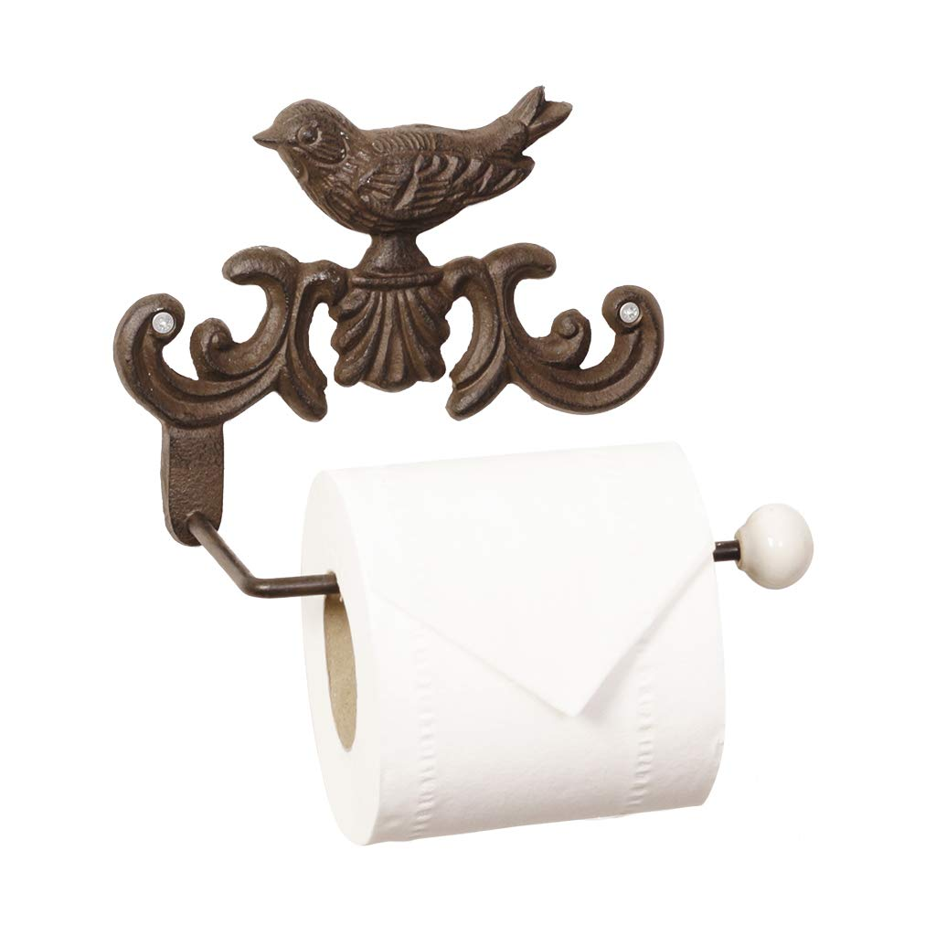 Period Bird Design Cast Iron Wall Toilet Tissue Roll Holder Store - The Ideal Bathroom Accessory For A Traditional Style Home - W23.5 x H15 x D4.5cm Dibor