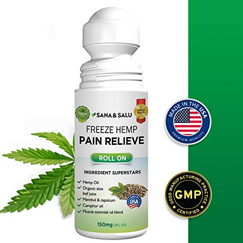 Freeze Hemp Pain Relief Roll-On, Quick & Lasting Relief for Arthritis Joint Muscle Backaches Sprains, Reduce Inflammation Safe, Effective Support for Joint Pain Relief by Sana & Salu