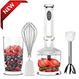 Immersion Hand Blender,THZY Powerful 4-in-1 Stainless Hand Blender Stick,Food Processor, Whisk and Beaker Smoothies Baby Food Yogurt Sauces Soups (White)