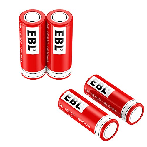 EBL 18500 Li-ion Rechargeable Battery 3.7V 1600mAh for LED Flashlight Torch, 4 Packs by EBL