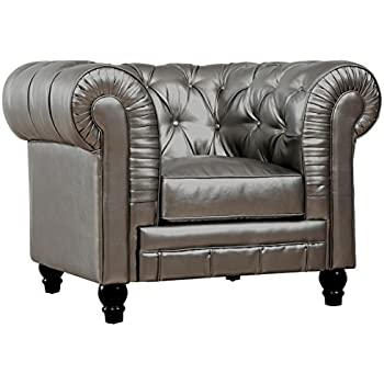 TOV Furniture The Zahara Collection Modern Bonded Leather Living Room  Furniture Tufted Bonded Leather Club Chair