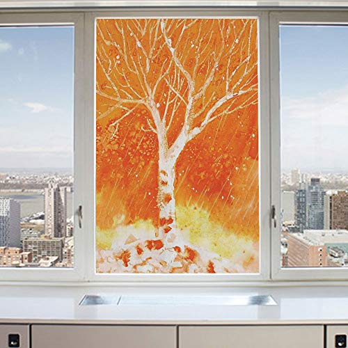 3D Decorative Privacy Window Films,Murky Original Hand Drawn Painting with Birches and Rain Drops Hazy Habitat,No-Glue Self Static Cling Glass film for Home Bedroom Bathroom Kitchen Office 17.5x36 Inc