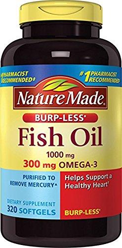 Nature Made Fish Oil 1000mg, Omega 3 300mg, Burp-Less Softge