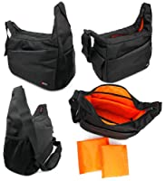 Rugged Black/Orange Shoulder Sling Carry Bag for Bushnell Night Watch with Built in Infrared Monocular 4 X 50mm - by DURAGADGET