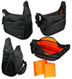 DURAGADGET Durable Shoulder 'Sling' Bag in Black & Orange for the Celestron ECLIPSMART 10X42 SOLAR