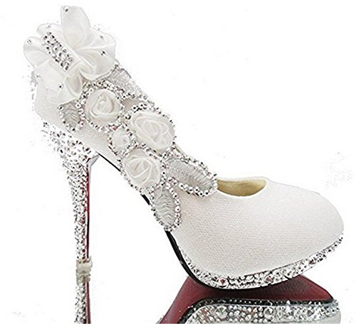Szsmart Women's Elegant High Heels Pull-On Sequins Wedding Shiny Pumps-Shoes with Flowers Floriation, White, - And High Festival Low Discount Code