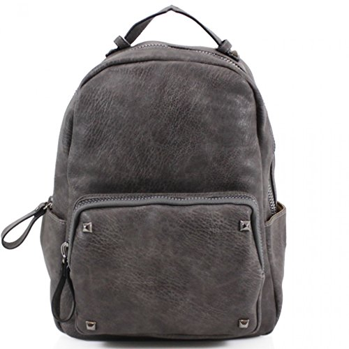 9047 Bag A4 Girls LeahWard School Handbags Women's Backpack Leather Holiday Rucksack Faux CW186 GREY For Nice Bags Quality aqBzA