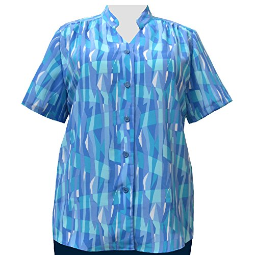 A Personal Touch Women's Plus Size Blue Pageant Mandarin Collar V-Neck Tunic - 3X