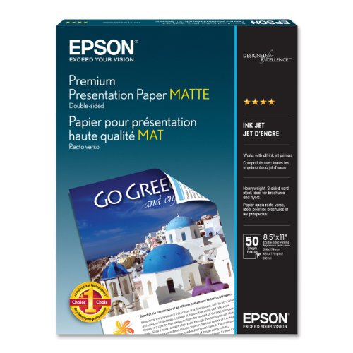 - Epson Premium Presentation Paper MATTE (8.5x11 Inches, Double-sided, 50 Sheets) (S041568)