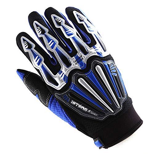 Motocross Motorcycle BMX MX ATV Dirt Bike Skeleton Racing Cycling Gloves Blue (Motocross Atv Gloves)