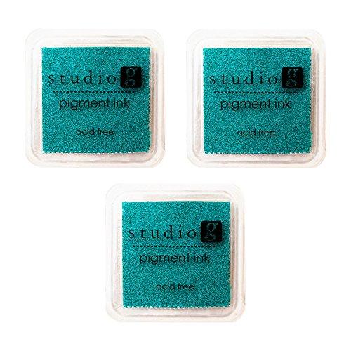Teal Stamp Pad (3-Pack Hampton Art Studio G Pigment Ink Pad, Teal)