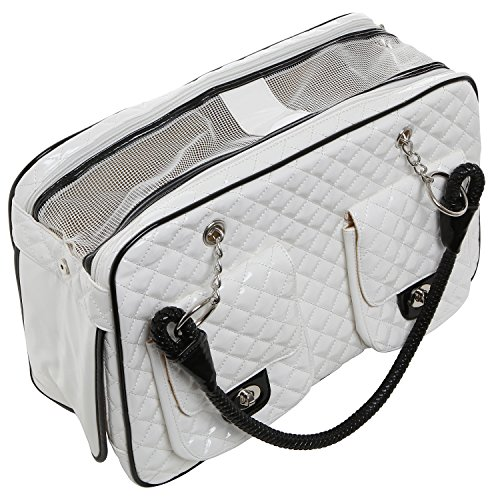 MG Collection bianco trapuntato in pelle sintetica, motivo: gatto e cane &-Borsa Tote
