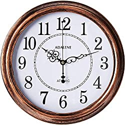Adalene Atomic Wall Clocks Battery Operated - Vintage Atomic Clock Analog Dislay - Rustic Atomic Wall Clock for Living Room Decor, Kitchen Bedroom Bathroom - Modern Retro Wall Clocks Large Decorative