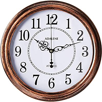 Adalene Atomic Wall Clocks Battery Operated - Vintage Atomic Clock Analog Dislay - Rustic Atomic Wall Clock for Living Room Decor, Kitchen Bedroom Bathroom - Modern Retro Wall Clocks Large Decorative - Clock will set itself to the correct time automatically by receiving the radio signal from Fort Collins, Colorado. No need to manually change the time from Standard to Daylight Savings and back, it all happens automatically.. Vintage rustic bronze plastic frame with age treatment, Crystal clear glass cover, 13 inch diameter Simple white dial with elegant black metal hands, Black Arabic numeral analog display, Easy to read - wall-clocks, living-room-decor, living-room - 51MZV1nrTpL. SS400  -