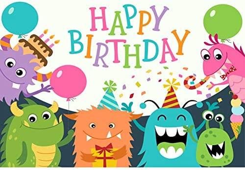 OERJU 3x2m Cumpleaños Fondo Feliz cumpleaños Monstruos de ...