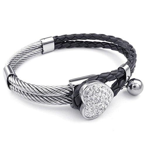 KONOV Leather Stainless Bracelet Braided