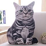 Gianthairball 3D Simulation Cat Pillow,Cat Plush Cushion Soft Stuffed Animal Sofa Decor Birthday for Children Girlfriend (Tiger Cat)