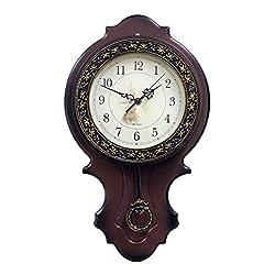 Exquisite Antique Retro Wooden European Style Wall Mount Quartz Sweep Movement Clock, Brown, Clockface 6 in Diameter