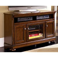 W697-28 Porter Medium TV Stand Including 4 Shelves and 3 Doors with Adjustable Shelf Bun Feet and Hole(s) for Wiring in Rustic Brown