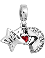 Charmed Craft I Love You to The Moon and Back Charms Moon and Star Openable Beads Heart Dangle Charms for Bracelets