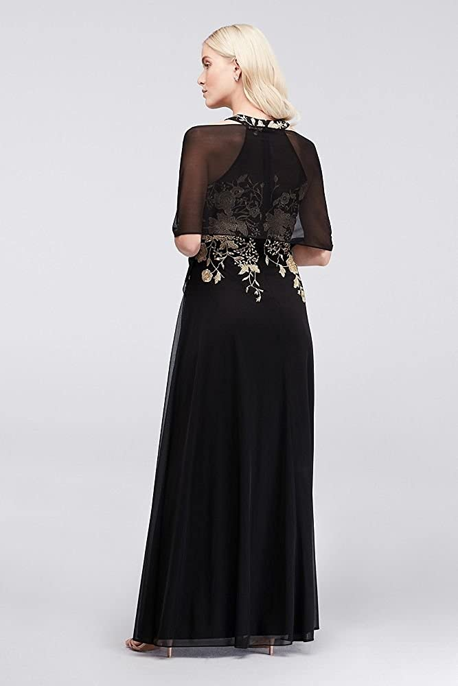 Metallic Embroidered Jersey Chiffon Halter Mother of Bride//Groom Dress Style 59562D