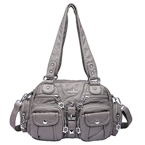 Angelkiss 2 Top Zippers Large capacity Handbags Washed Leather Purses Shoulder Bags AK18579 (Grey) by Angel Kiss