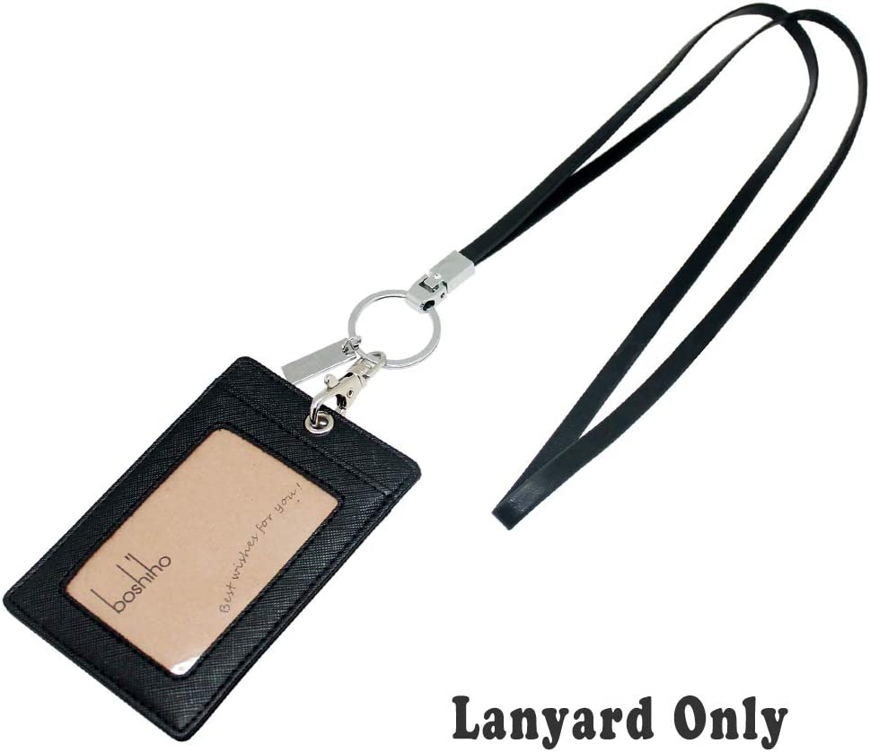 ID Badge Holder USB or Cell Phone Boshiho Lanyard Neck Strap with Strong Clip and Keychain for Keys Leather Lanyard Red