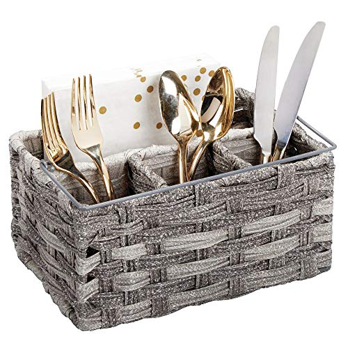 (mDesign Plastic Woven Cutlery Storage Organizer Caddy Tote Bin Basket for Kitchen Table, Cabinet, Pantry - Holds Forks, Knives, Spoons, Napkins, Serving Utensils - Indoor or Outdoor Use - Gray)