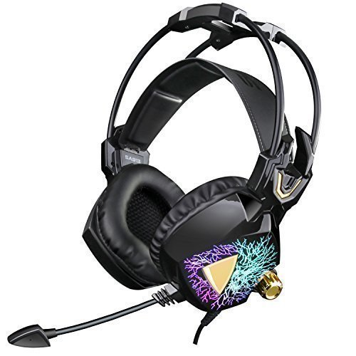 Headset Gaming Vibration - SADES Newest Model SA913 Lightweight PC Gaming Headset USB Stereo Surround Sound Over Ear Headphones with Microphone Vibration Volume Controller Multi-Color LED light for Gamers(Black)