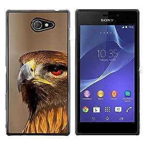 TECHCASE**Cubierta de la caja de protección la piel dura para el ** Sony Xperia M2 ** Hawk Bird Ornithology Nature Prey Hunting