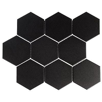 "SomerTile FXLG4HBK Antique Super Hex Unglazed Porcelain Mosaic Floor and Wall Tile, 10"" x 11.38"", Black, 10 Piece"