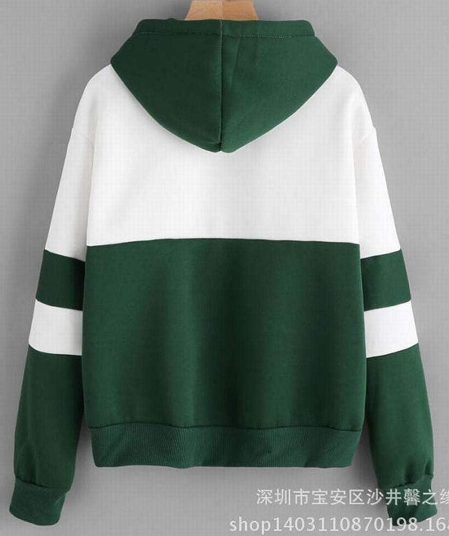 Frieed Womens Colorblock Cactus Print Hoodie Long Sleeve Pullover Sweatshirt