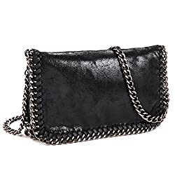 Crossbody Hobo Bags For Women J K Synthetic Leather Purse Bag Paillette Clutch Shoulder Handbags With Classic Metal Chain Black